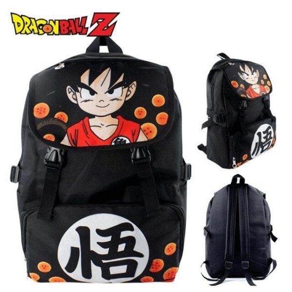 Happy Kid Goku Dragon Ball Pattern Black Backpack Bag