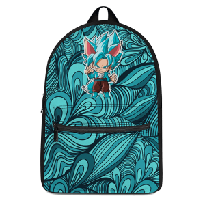 Dragon Ball Chibi Goku SSGSS Halloween Teal Blue Backpack - Saiyan Stuff