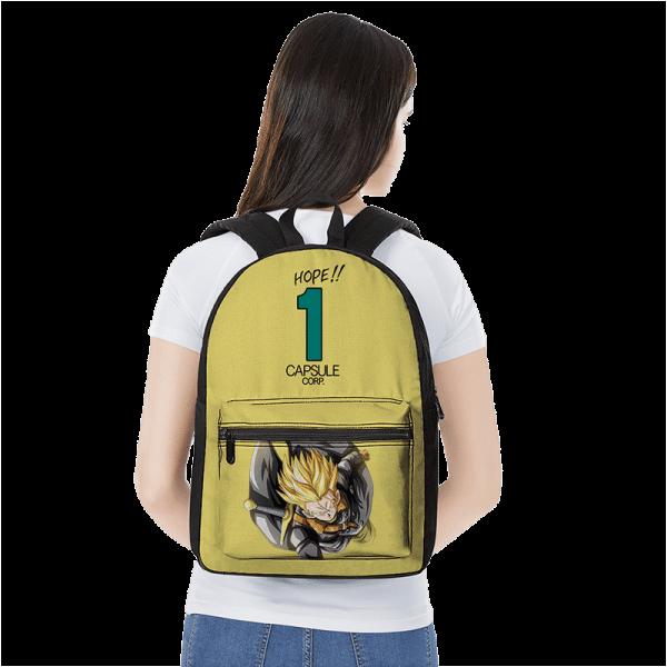 Dragon Ball Z Future Trunks Xeno Capsule Corp Yellow Backpack - Saiyan Stuff
