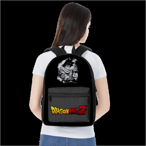 Dragon Ball Z Goku Black And White Emblem Canvas Backpack - Saiyan Stuff