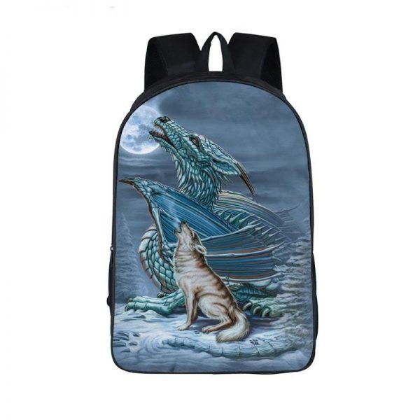 Interesting Dragon With Lone Wolf On A Snowy Night Backpack - Saiyan Stuff