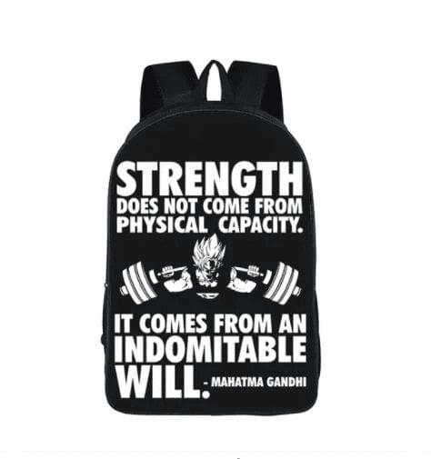 Goku Training Strength Quotes Motivation School Backpack Bag - Saiyan Stuff