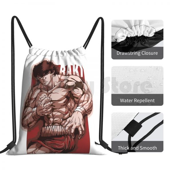 Baki Hanma Backpack Drawstring Bag Riding Climbing Gym Bag Baki Boxing Thai Netflix Anime Manga Baki 3 - Anime Backpacks