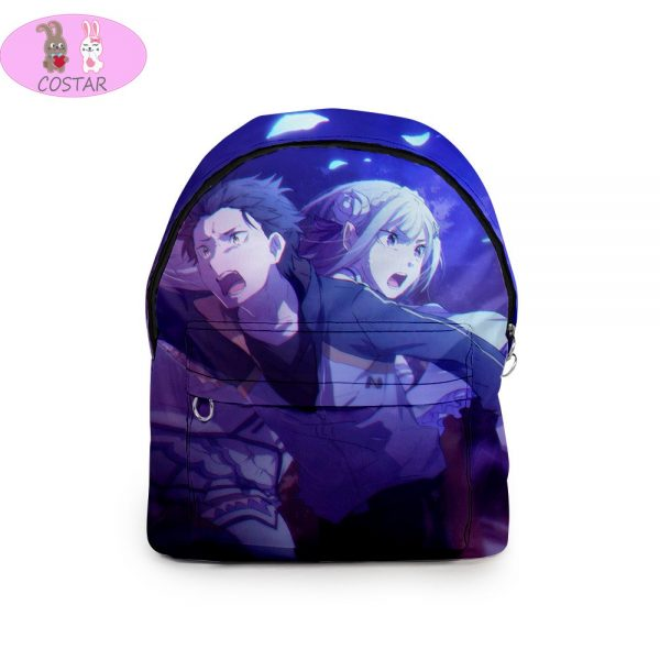 COSTAR Anime Re Life In A Different World From Zero Theme Backpack Rem Ram Printed Student 3 - Anime Backpacks