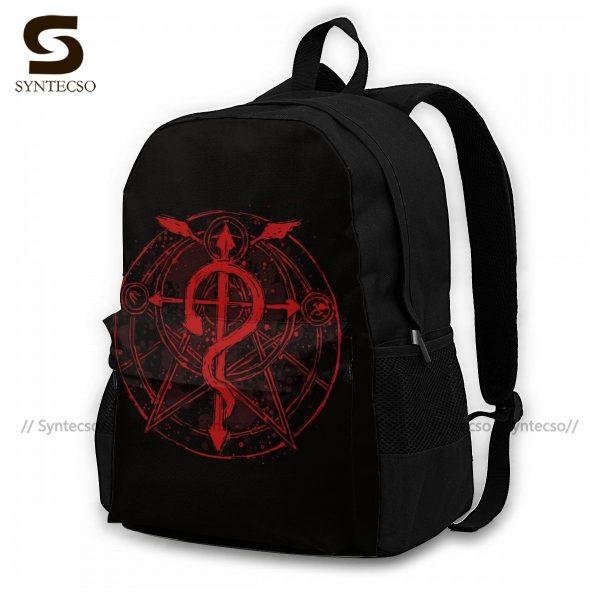 Fullmetal Alchemist Brotherhood Backpacks Funny Polyester Cycling Backpack Runner Soft Bags - Anime Backpacks