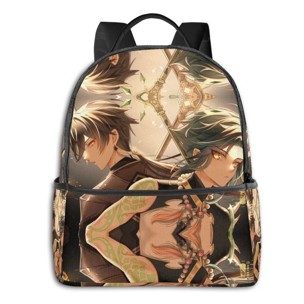 Genshin Anime Cartoon Backpack with USB Charging Port and Anti theft Lock Pencil Case Unisex Fashion 2 - Anime Backpacks