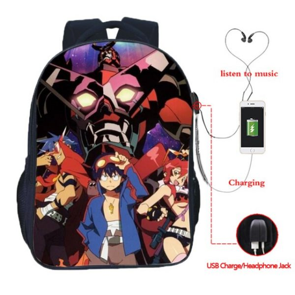 High Quality Simon Tengen Toppa Gurren Lagann USB Charging School Bag Students Backpacks Casual School Backpack 4.jpg 640x640 4 - Anime Backpacks
