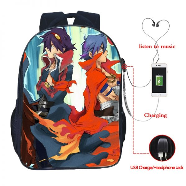 High Quality Simon Tengen Toppa Gurren Lagann USB Charging School Bag Students Backpacks Casual School Backpack - Anime Backpacks