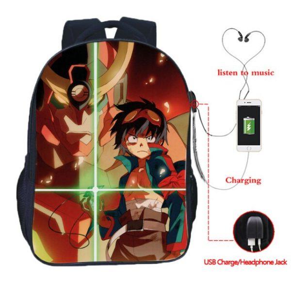High Quality Simon Tengen Toppa Gurren Lagann USB Charging School Bag Students Backpacks Casual School - Anime Backpacks