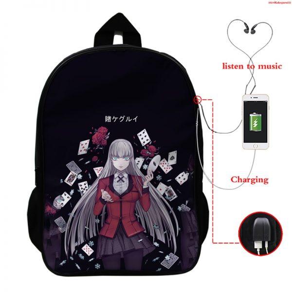 Kakegurui Compulsive Gambler Kids School Bags Laptop Computer School Backpack Bag Mochila Teenager Usb Charging Travel 1 - Anime Backpacks