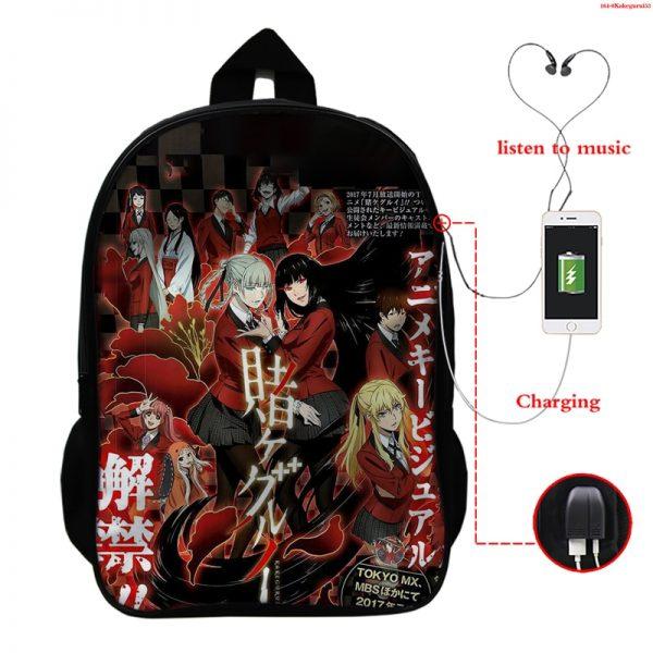 Kakegurui Compulsive Gambler Kids School Bags Laptop Computer School Backpack Bag Mochila Teenager Usb Charging Travel 5 - Anime Backpacks