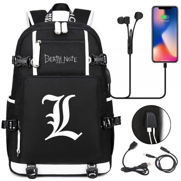 New Anime Death Note USB Backpack School Bags Bookbag Men Women Travel Laptop Shoulder Bags Gift - Anime Backpacks