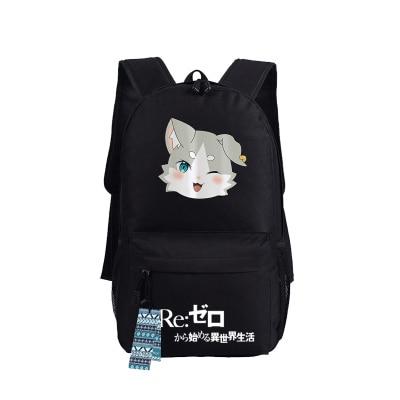 Re Zero kara Hajimeru Isekai Seikatsu Emiria Backpack Rem Puck Anime bags Student oxford - Anime Backpacks