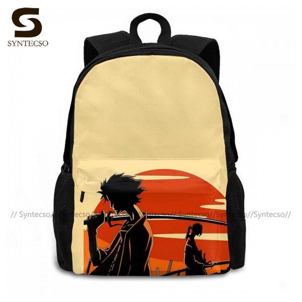 Samurai Champloo Backpacks Cute Polyester Cycling Backpack Male Pattern Bags 1 - Anime Backpacks