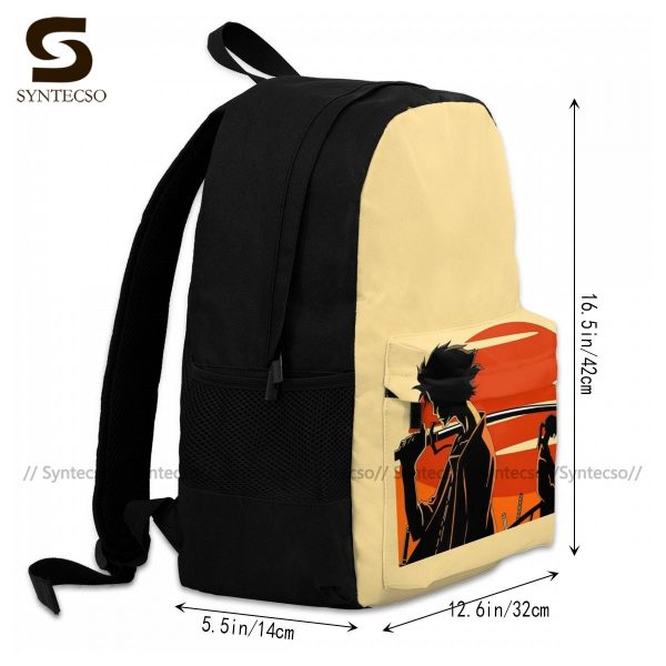 Samurai Champloo Backpacks Cute Polyester Cycling Backpack Male Pattern Bags 2 - Anime Backpacks