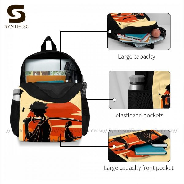 Samurai Champloo Backpacks Cute Polyester Cycling Backpack Male Pattern Bags 3 - Anime Backpacks